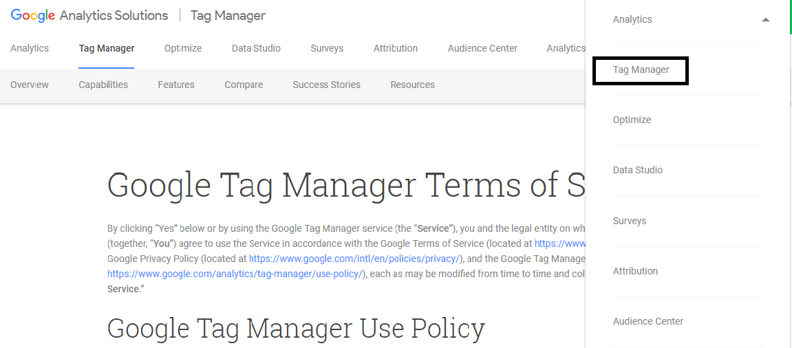 tag manager click option