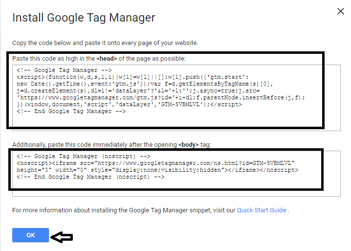 install google tag manager code