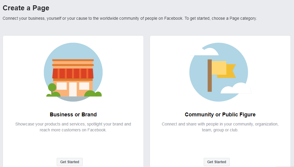 Select Facebook Business page or community