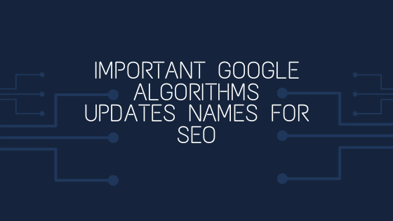 Google Algorithms Updates Names for SEO